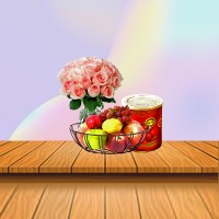 Pink Roses And Fruit Basket Combo