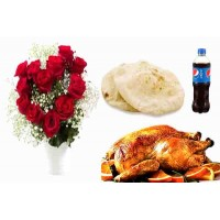 Afternoon Snack With Red Roses Bouquet