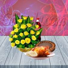 Yellow Roses Bouquet With Sumi's Mud Cake Combo
