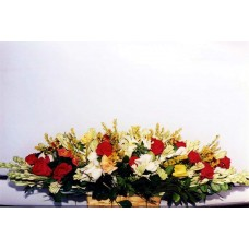 Flat Basket with Mixed Flower