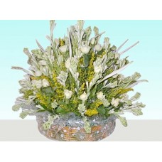 Attractive white rose & tuberose flower basket