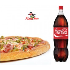 Pizza Inn special BBQ Pizza and Soft Drinks