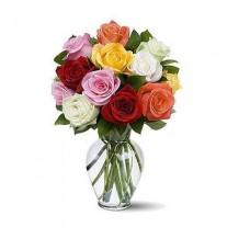 Mixed Rose with Vase Premium Size