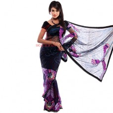 Saree - Makhmal Net With Multi Stone