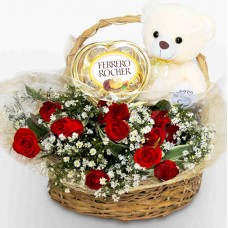 Romantic Red Flower Basket