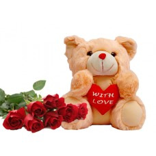 Lovely teddy bear gift with rose for valentine