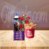 8 Red Roses With Cadbury Dairy Milk Chocolate Combo