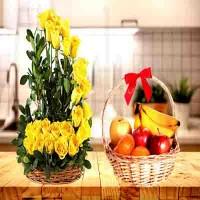 Beautiful Yellow Rose Flower Basket Combo