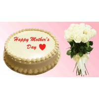 Mother's Day Special Vanilla Cake With Rose Combo