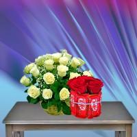 White Rose Basket Combo