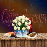 White Rose Basket with Star Kabab Restaurant Food Combo