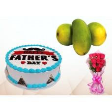 Father's Day Cake, Mango & 10 Pcs Roses Combo