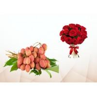 400 Pecs Litchi & 5 Red Roses Bouquet