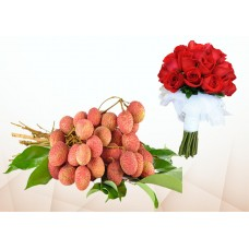 100 Pcs Litchi & 5 Red Roses Bouquet
