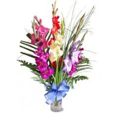Mixed Coloured Gladiolus with vases