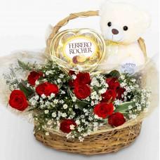 Romantic Red Flower Basket